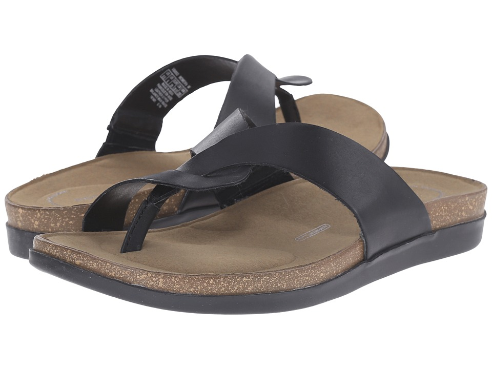 Rockport - Total Motion Romilly Curvy Thong (Black/Rich Tan Smooth) Women's Sandals