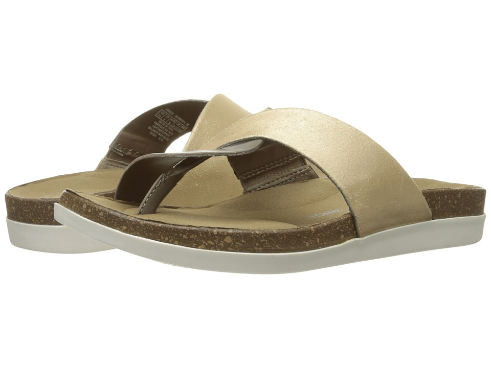 Rockport - Total Motion Romilly Curvy Thong (Medium Grey Smooth/Gold Pearl) Women's Sandals