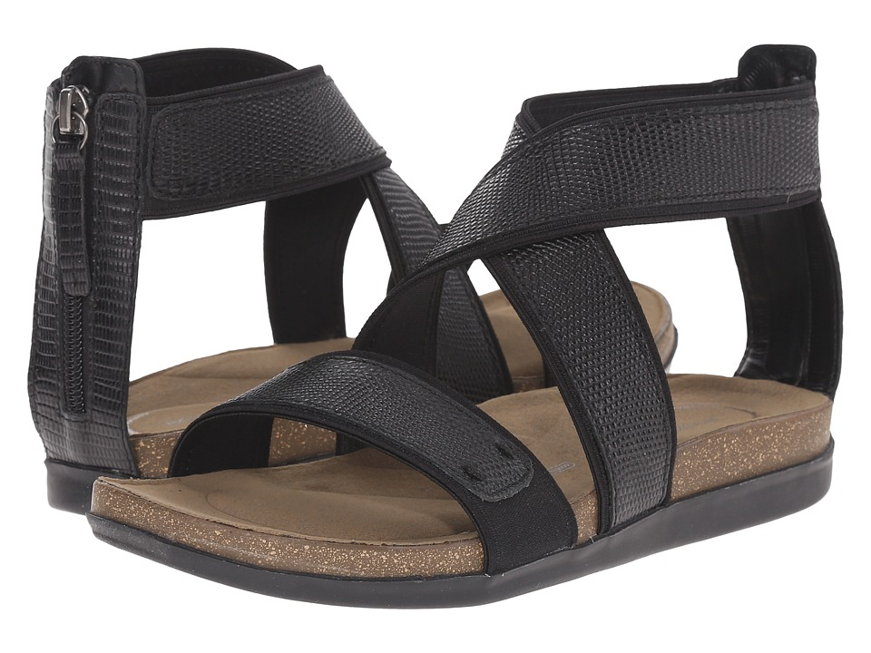 Rockport Total Motion Romilly Back Zip Sandal (Black Lizard) Women