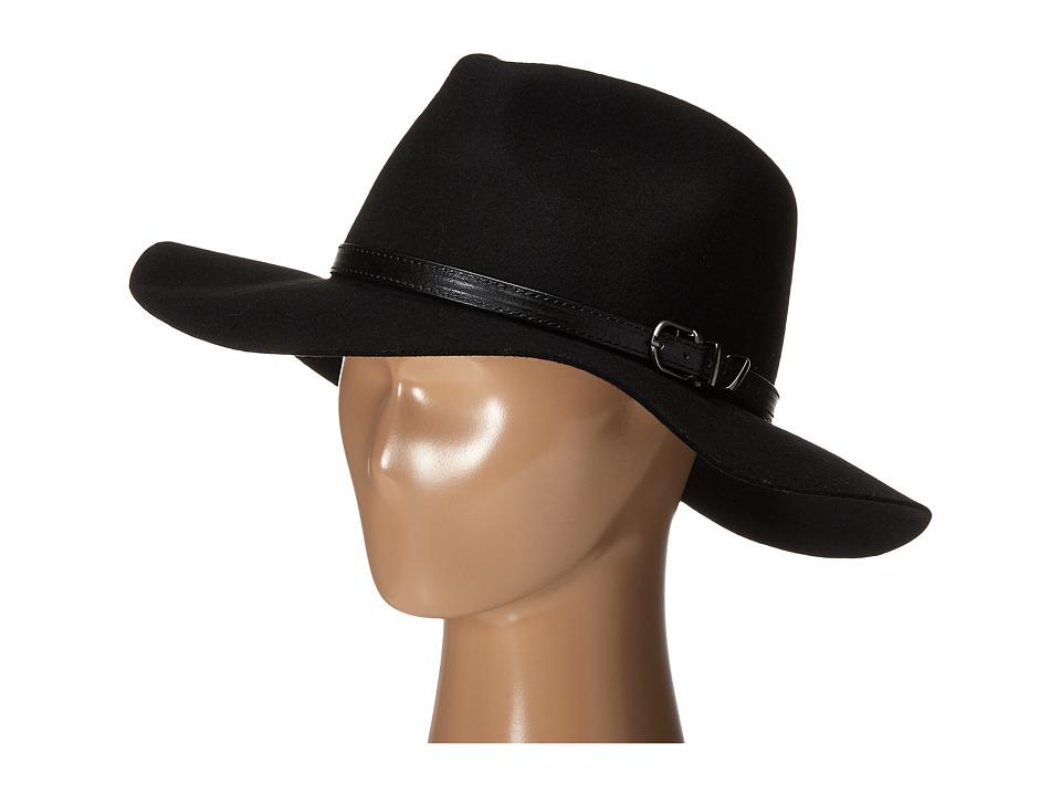 Gabriella Rocha - Shanese Wool Felt Panama Hat with Belted Band (Black) Caps