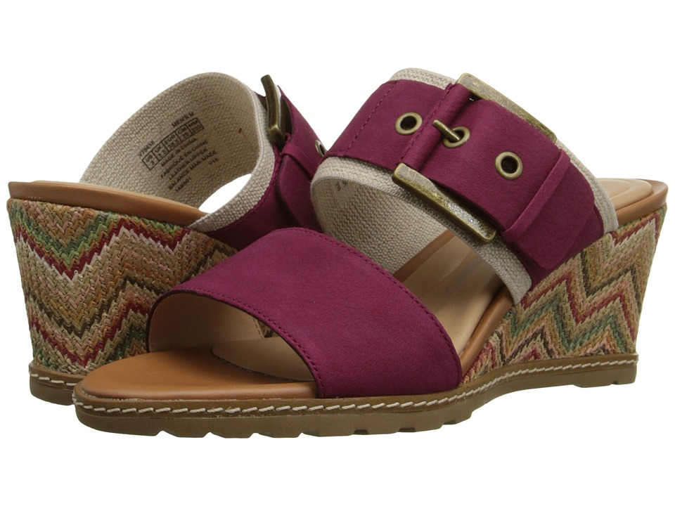 Rockport - Garden Court Buckled Slide (Deep Berry Embossed Nubuck) Women's Wedge Shoes