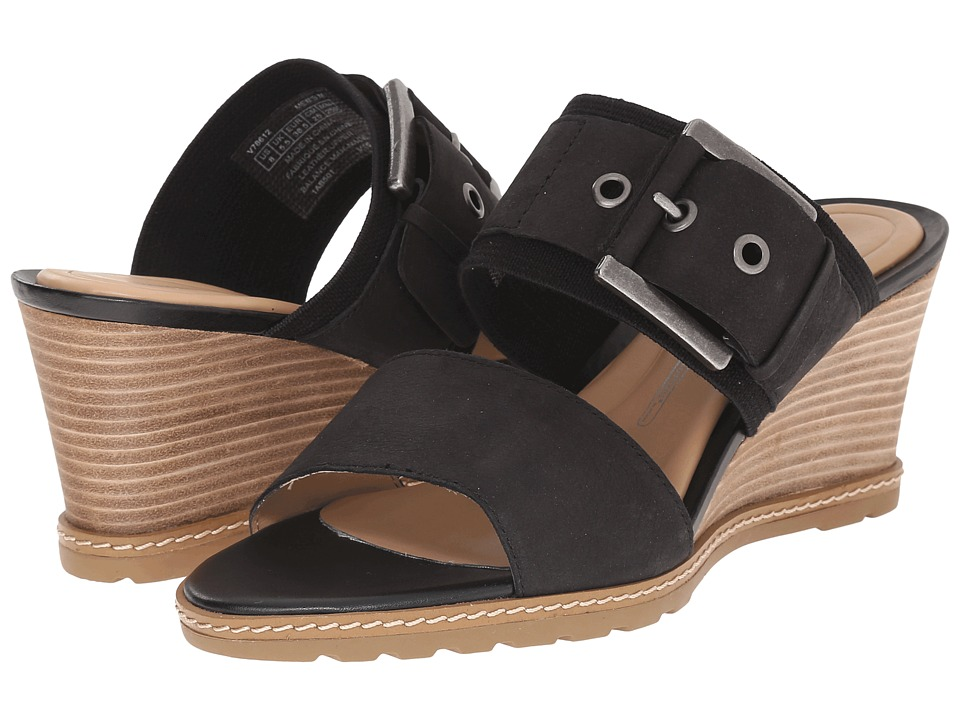 Rockport - Garden Court Buckled Slide (Black Embossed Nubuck) Women's Wedge Shoes