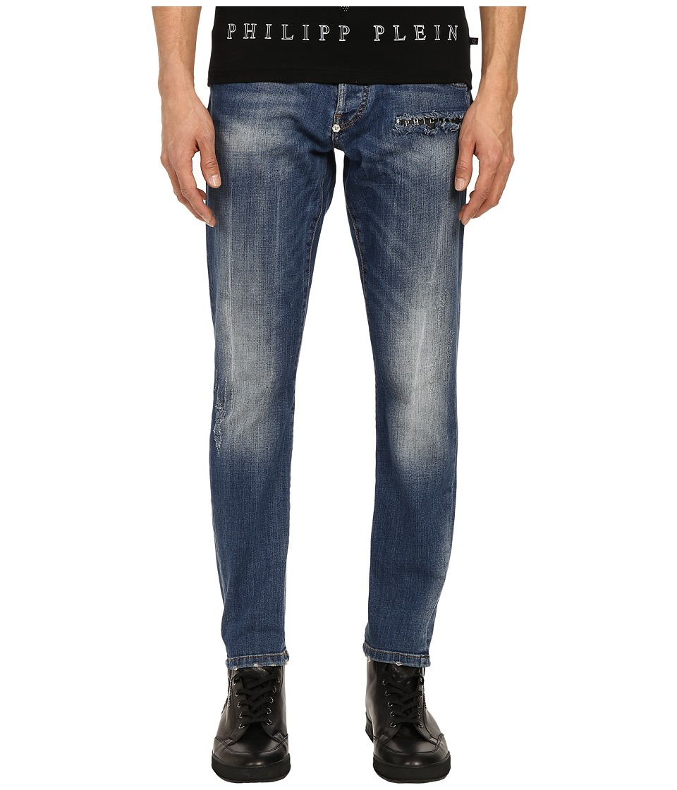 Philipp Plein - Amnesia Super Straight Cut Denim in Amnesia Blue (Amnesia Blue) Men's Jeans