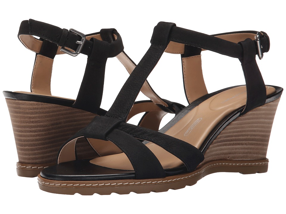 Rockport Garden Court T-Strap (Black Goat Tumble Nubuck) Women