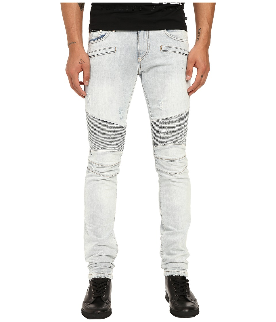 Philipp Plein - Cutout Motor Biker Denim in San Francisco Bay (San Francisco Bay) Men's Jeans