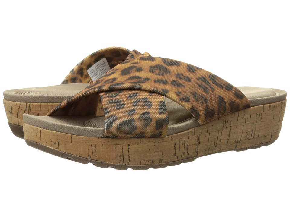 Rockport - Land Boulevard Cross Slide Flatform Sandal (Brown Leopard Stretch) Women's Sandals