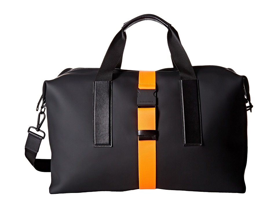DSQUARED2 - Bruce Rubber Duffel (Black/Orange) Duffel Bags