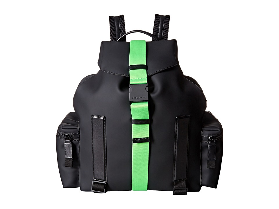 DSQUARED2 - Bruce Rubber Backpack (Black/Green) Backpack Bags