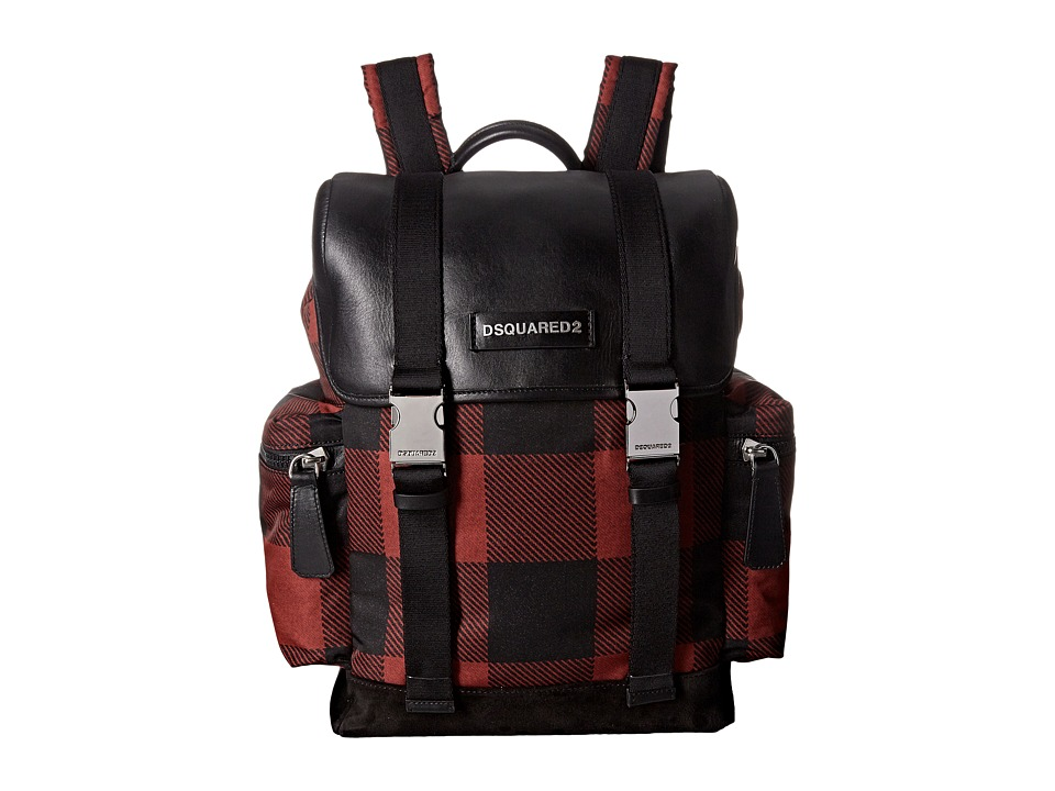 DSQUARED2 - Donald Buffalo Check Backpack (Red/Black) Backpack Bags