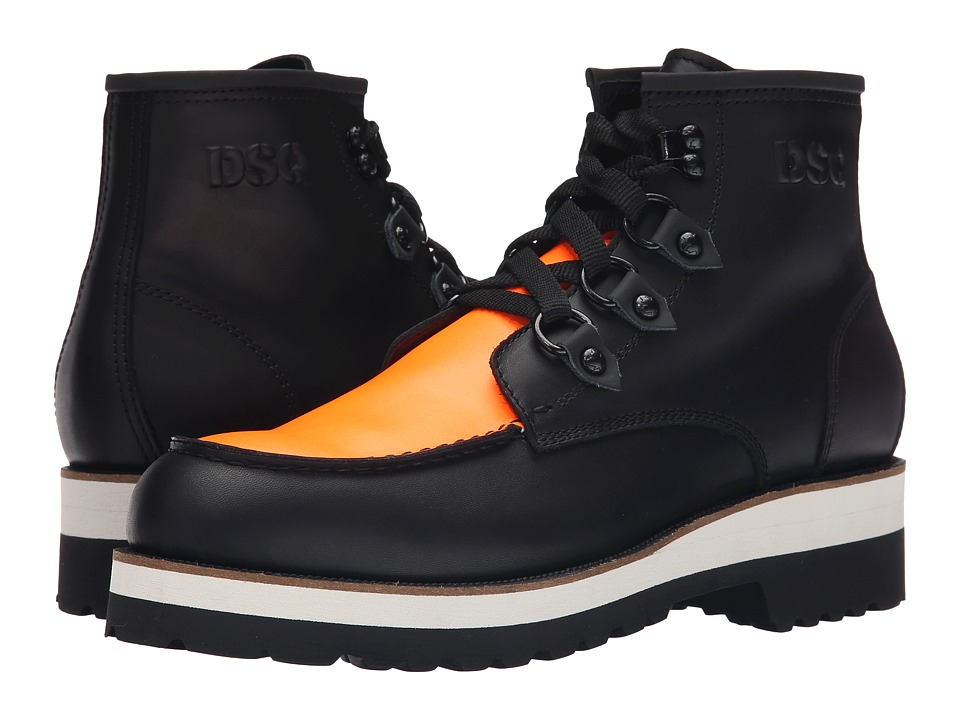DSQUARED2 - Construction Calf Leather Ankle Boot (Black/Orange) Men's Boots
