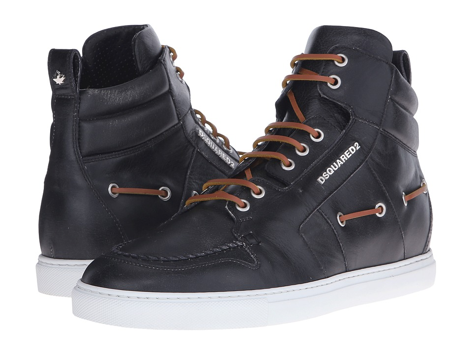 DSQUARED2 - Technobarca Hi-Top Boat Sneaker (Black) Men's Shoes