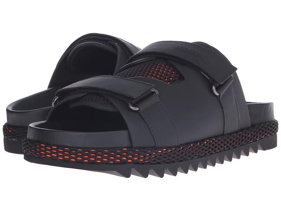DSQUARED2 - Shark Soon Leather and Rubber Sandal (Black/Orange) Men's Shoes