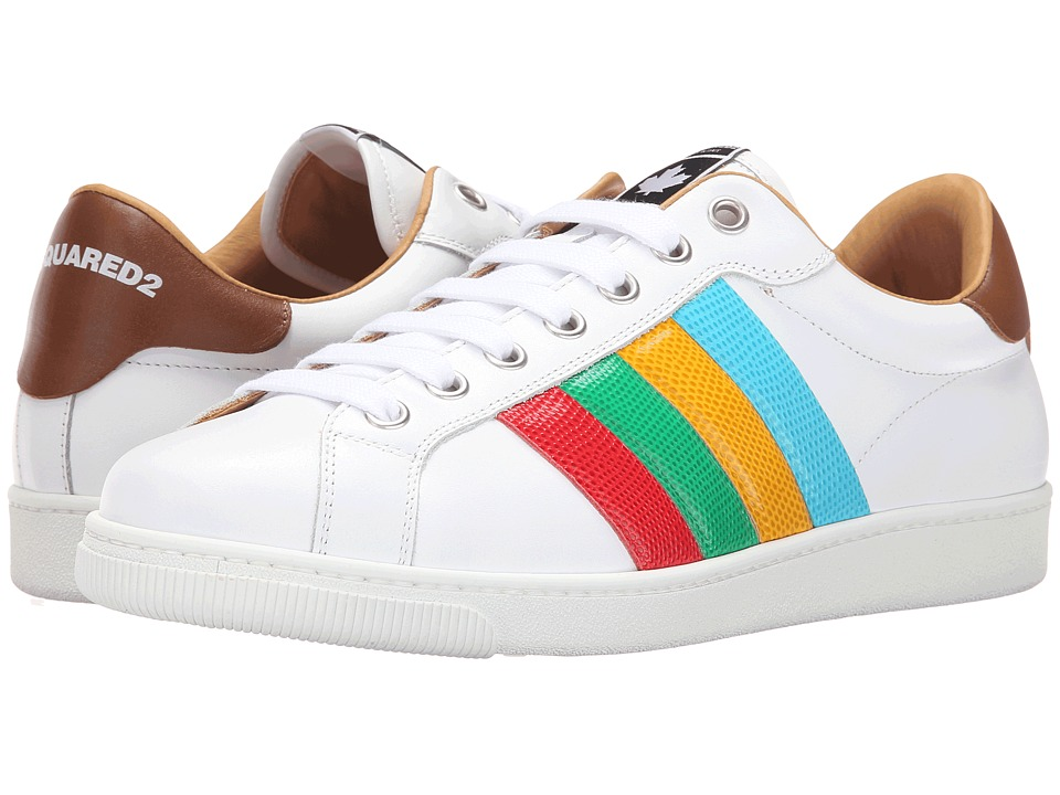 DSQUARED2 - Santa Monica Striped Tennis Shoe (White Multi) Men's Shoes