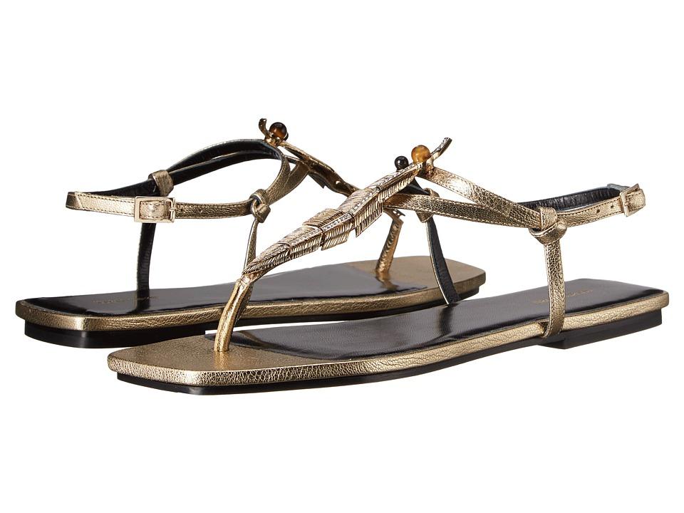 Roberto Cavalli - Bianca Laminated Goatskin Sandal (Gold) Women