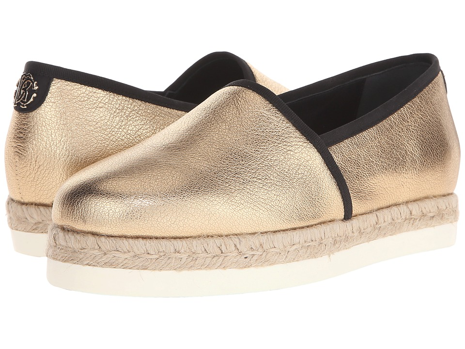Roberto Cavalli - Laminated Goatskin Espadrille (Gold) Women's Flat Shoes