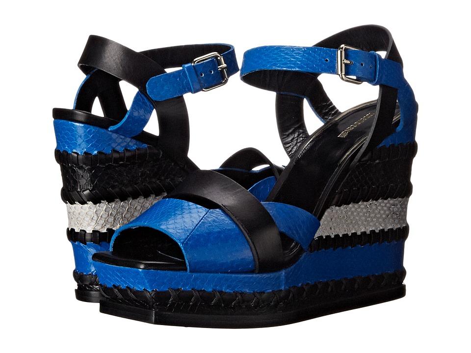 Roberto Cavalli - Claudia Wedge (Black/Cerulean) Women's Wedge Shoes