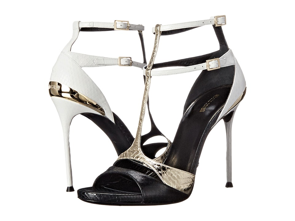 Roberto Cavalli - Began Ayers Patch Heel (Black/White/Gold) Women's Shoes