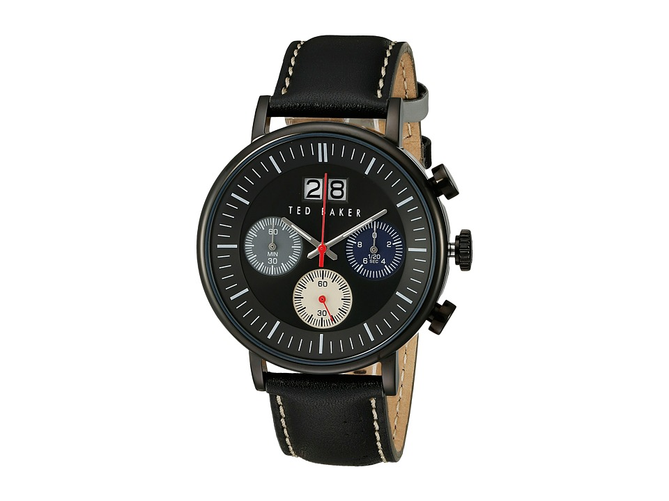 Ted Baker - Sport Collection Custom Chronograph Date Leather Strap Watch (Black) Watches