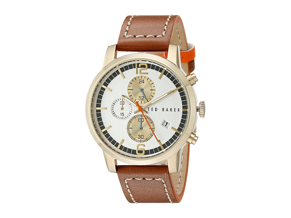 Ted Baker - Vintage Collection Custom Chronograph Date Leather Strap Watch (Gold) Watches