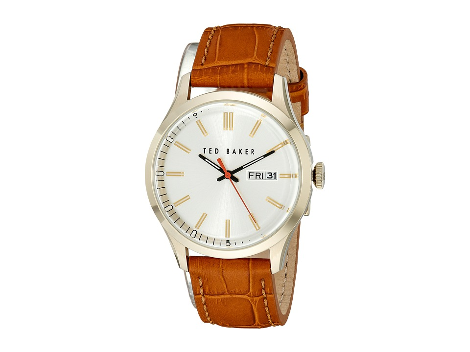 Ted Baker - Dress Sport Collection Custom Leather Strap Day/Date Watch (Gold) Watches