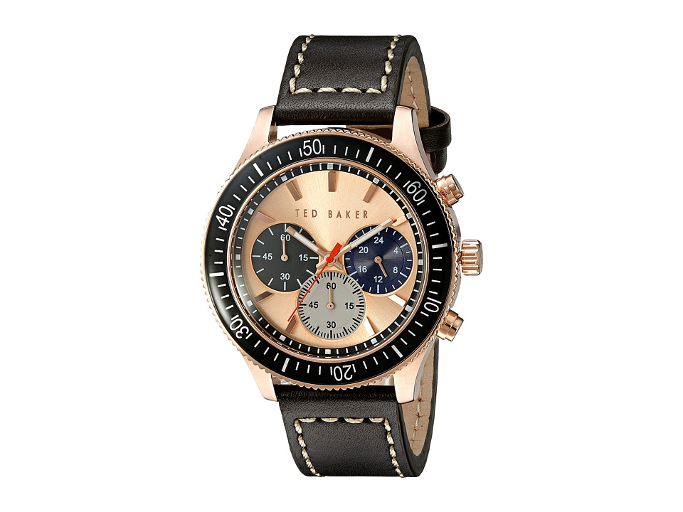 Ted Baker - Dress Sport Collection Custom Chronograph Date Leather Strap Watch (Rose Gold) Watches