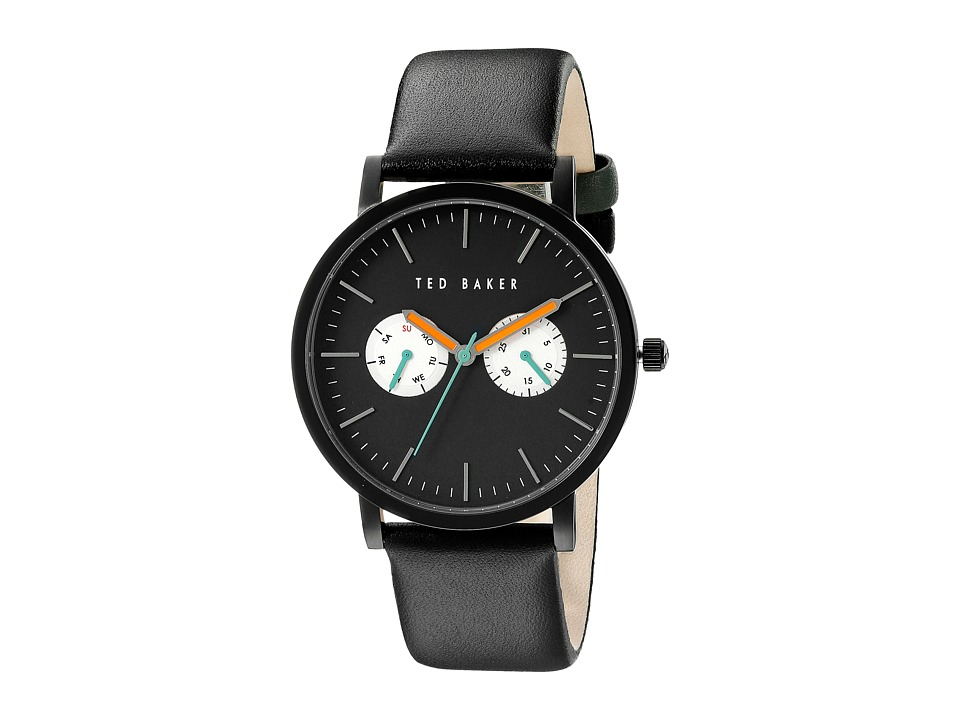 Ted Baker - Smart Casual Collection Custom Multifunction Sub-Eye w/ Contrast Detail Date Leather Strap Watch (Black) Watches