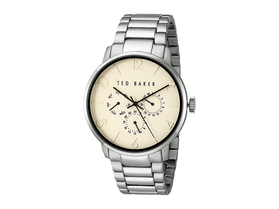Ted Baker - Classic Collection Custom Multifunction Sub-Eye w/ Contrast Detail Date Link Bracelet Watch (Beige) Watches