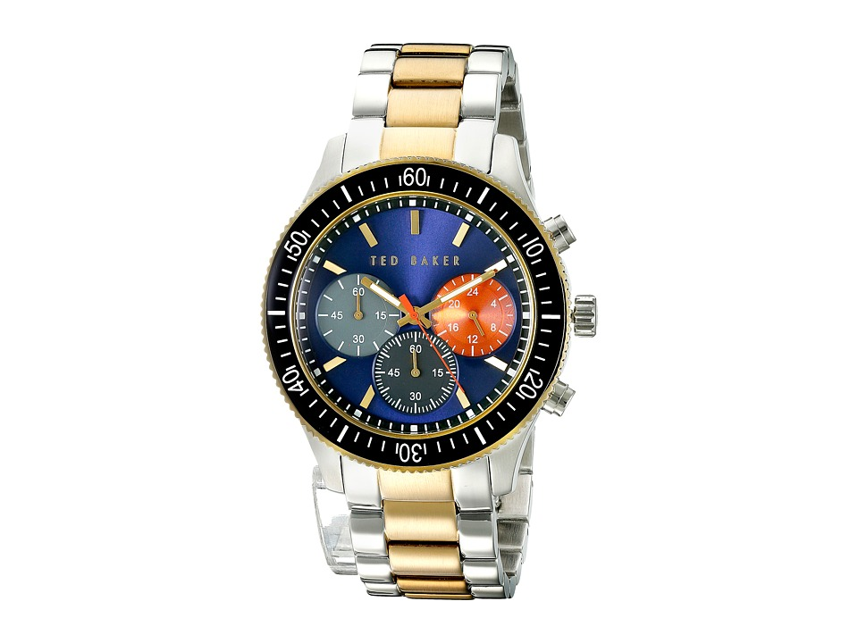 Ted Baker - Dress Sport Collection Custom Link Bracelet Chronograph Date Watch (Blue) Watches