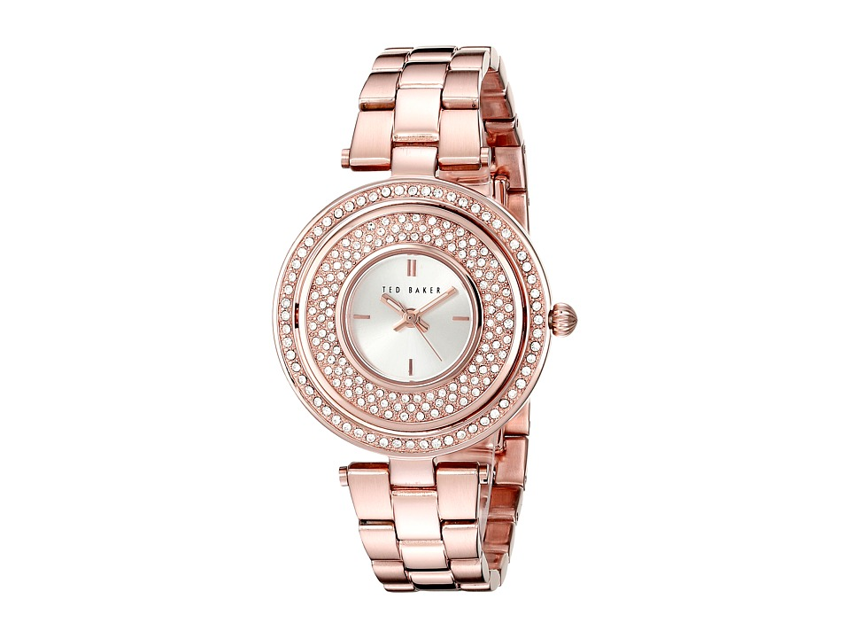 Ted Baker - Modern Vintage Collection Custom Flip-Case Jewel Link Bracelet Watch (Rose Gold) Watches