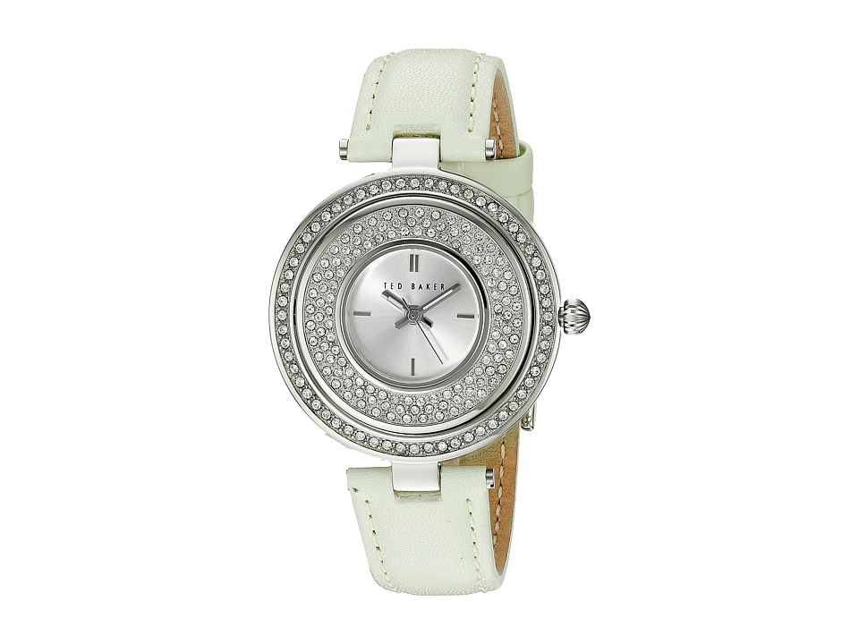 Ted Baker - Modern Vintage Collection Custom Flip-Case Jewel Leather Strap Watch (Silver) Watches