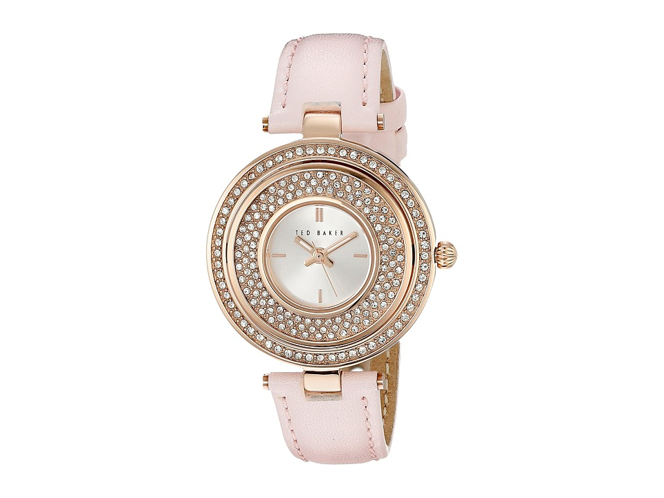 Ted Baker - Modern Vintage Collection Custom Flip-Case Jewel Leather Strap Watch (Rose Gold) Watches