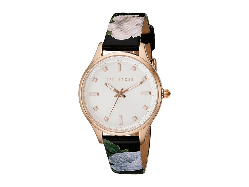 Ted Baker - Classic Charm Collection Custom Leather Strap Watch (Rose Gold) Watches