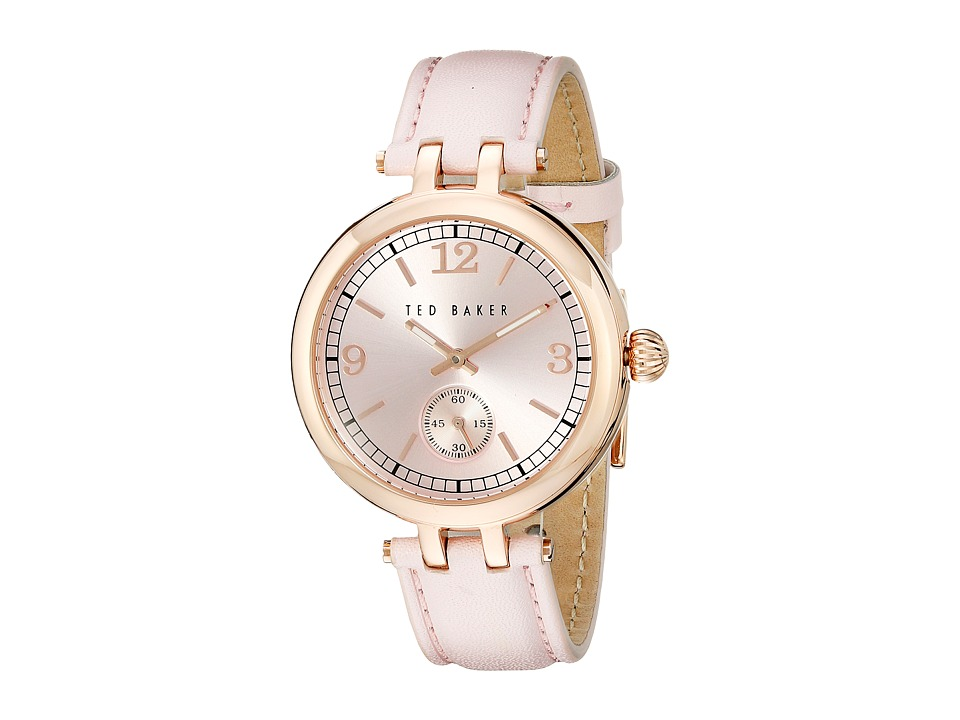 Ted Baker - Smart Casual Collection Custom Leather Strap Watch (Pink) Watches