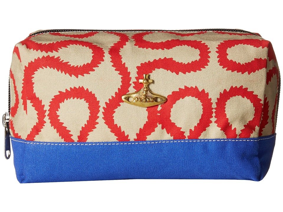 Vivienne Westwood - Africa Squiggle Washbag (Beige/Red Squiggle) Travel Pouch