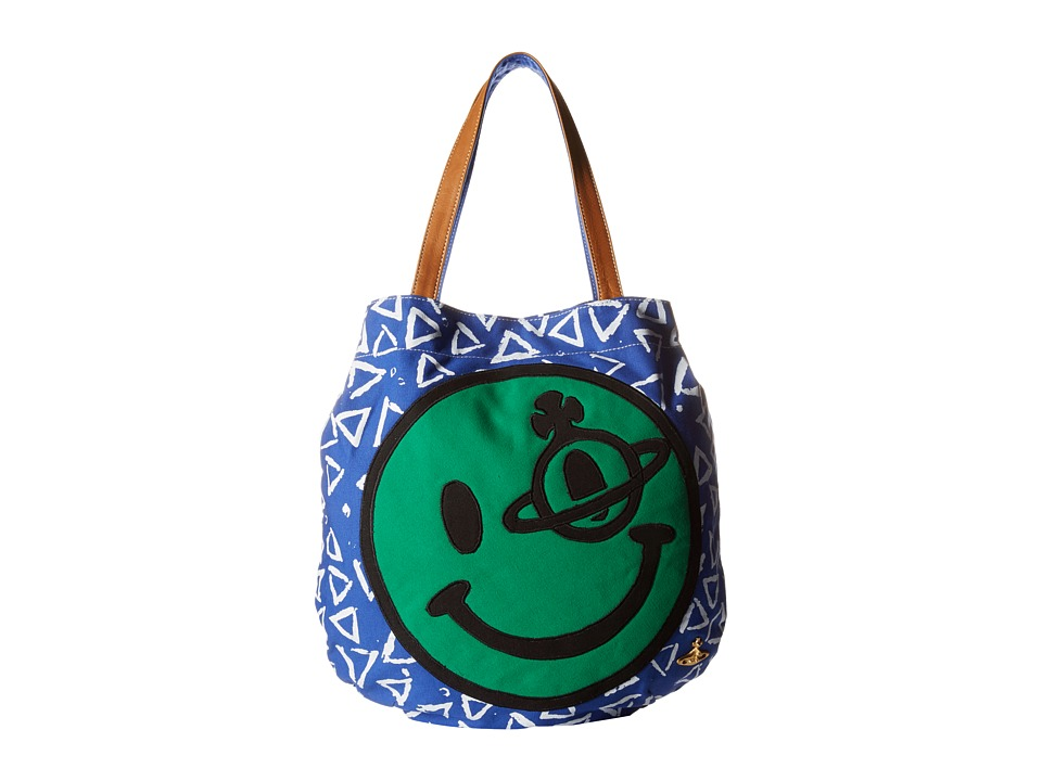 Vivienne Westwood - Africa Smiley Shopper (Green/Blue) Tote Handbags