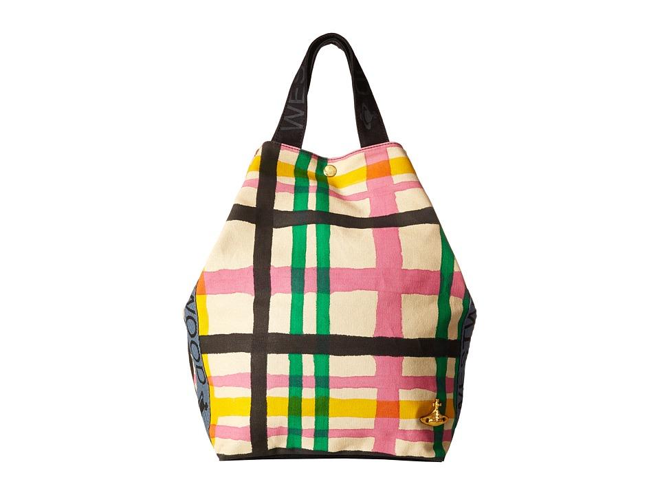 Vivienne Westwood - Africa Handprinted Tartan Tote (Beige/Tartan) Tote Handbags