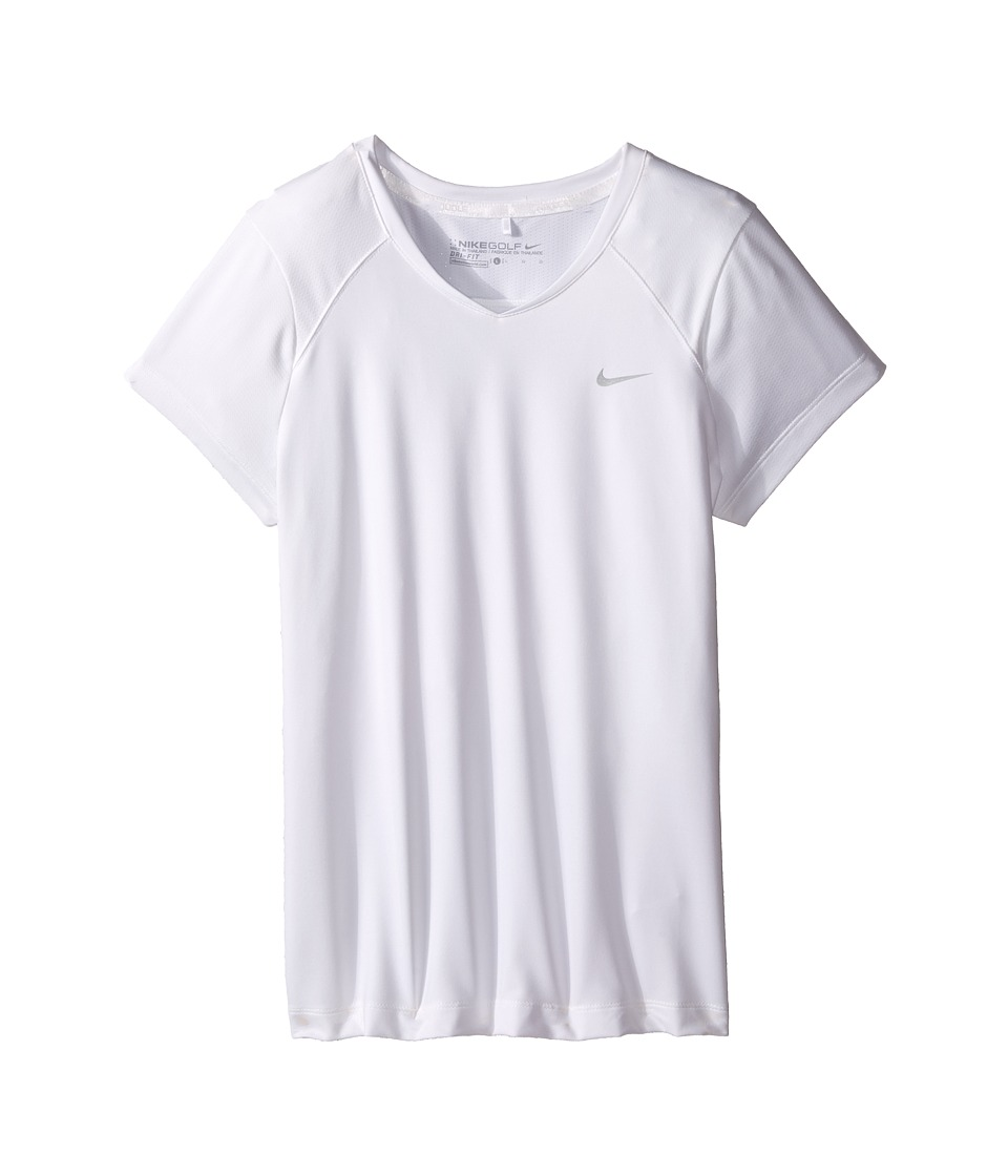 Nike Kids - Greens Top (Little Kids/Big Kids) (White/Metallic Silver) Girl's Short Sleeve Pullover