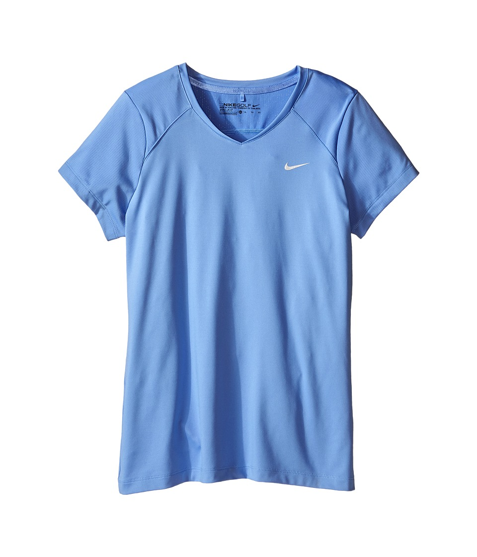 Nike Kids - Greens Top (Little Kids/Big Kids) (Chalk Blue/Metallic Silver) Girl's Short Sleeve Pullover