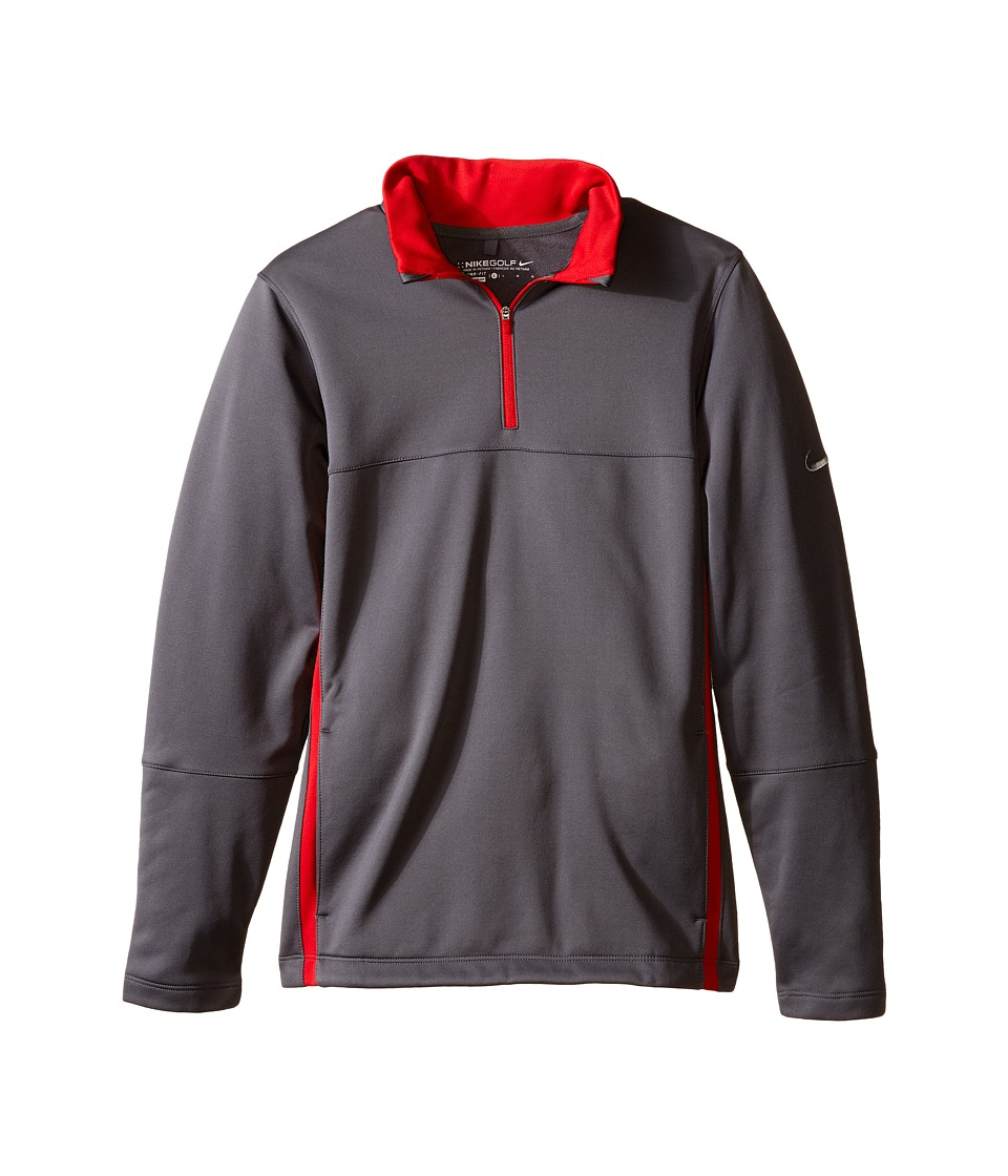 Nike Kids - Thermal 1/2 Zip Top 2.0 (Little Kids/Big Kids) (Dark Grey/Dark Grey/University Red/Wolf Grey) Boy's Workout