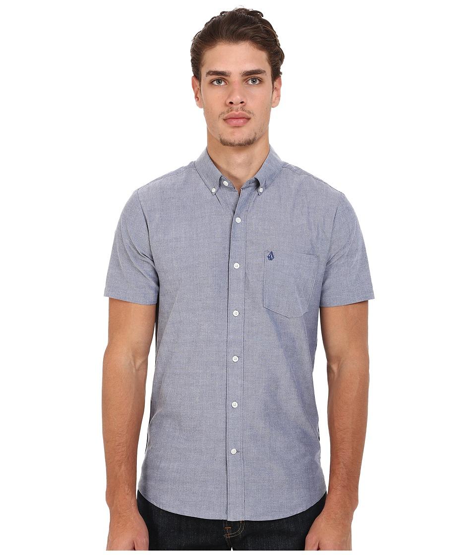 Volcom - Everett Oxford Short Sleeve Woven (Matured Blue) Men's Short Sleeve Button Up