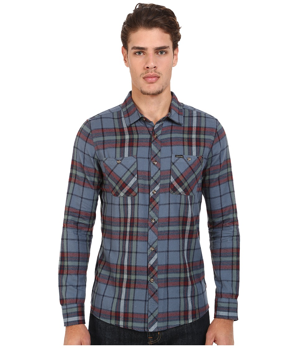 Volcom - Party Train Long Sleeve Flannel (Grey Blue) Men's Long Sleeve Button Up