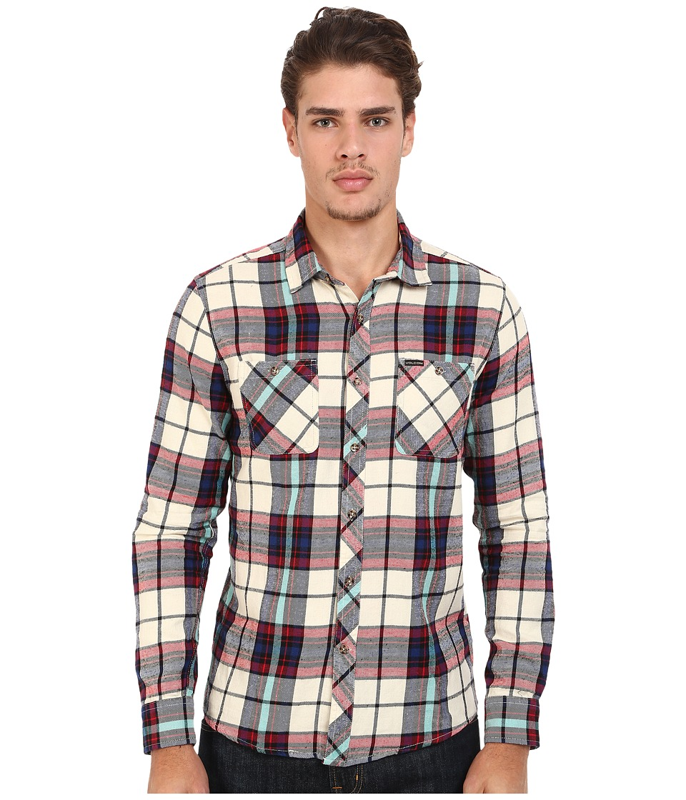 Volcom - Party Train Long Sleeve Flannel (Oxford Tan) Men's Long Sleeve Button Up