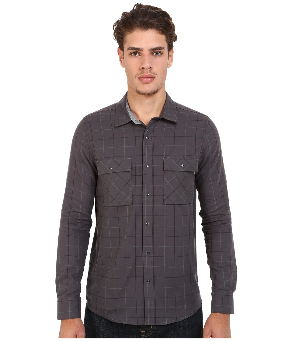 Volcom - Grid Long Sleeve Flannel (Charcoal) Men's Long Sleeve Button Up