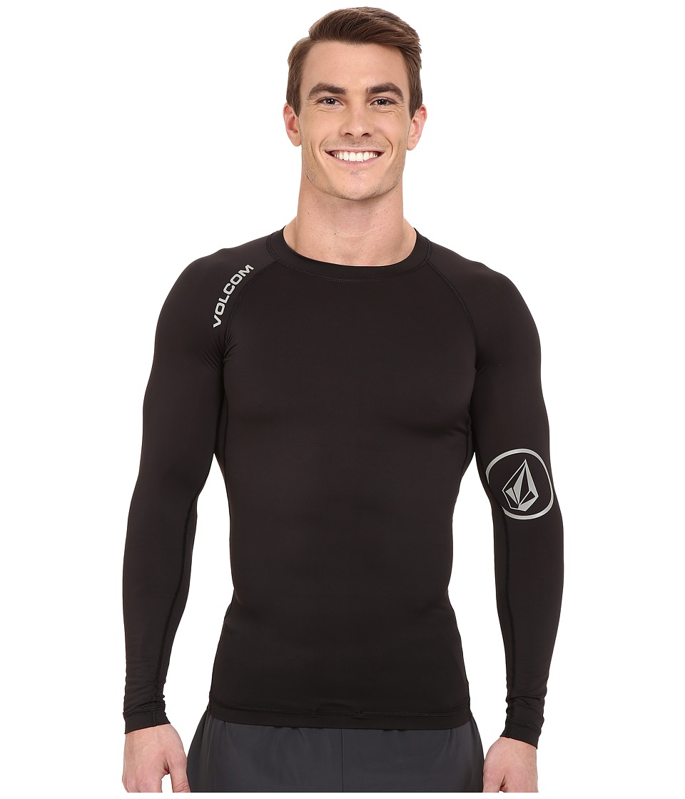 Volcom - Solid Long Sleeve Rashguard (Black) Men's Swimwear