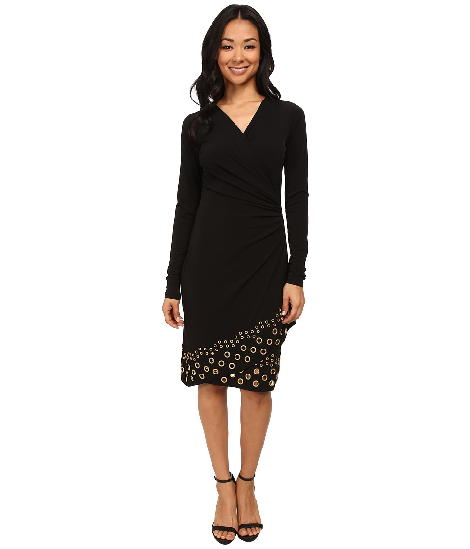 MICHAEL Michael Kors - Long Sleeve Grommet Hem Wrap Dress (Black/Gold) Women's Dress