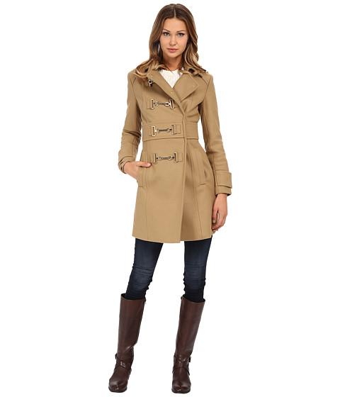 MICHAEL Michael Kors - Buckle Front Coat (Dark Camel) Women