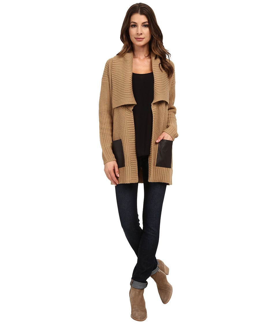 MICHAEL Michael Kors - Long Sleeve Leather Pocket Sweater Coat (Dark Camel) Women