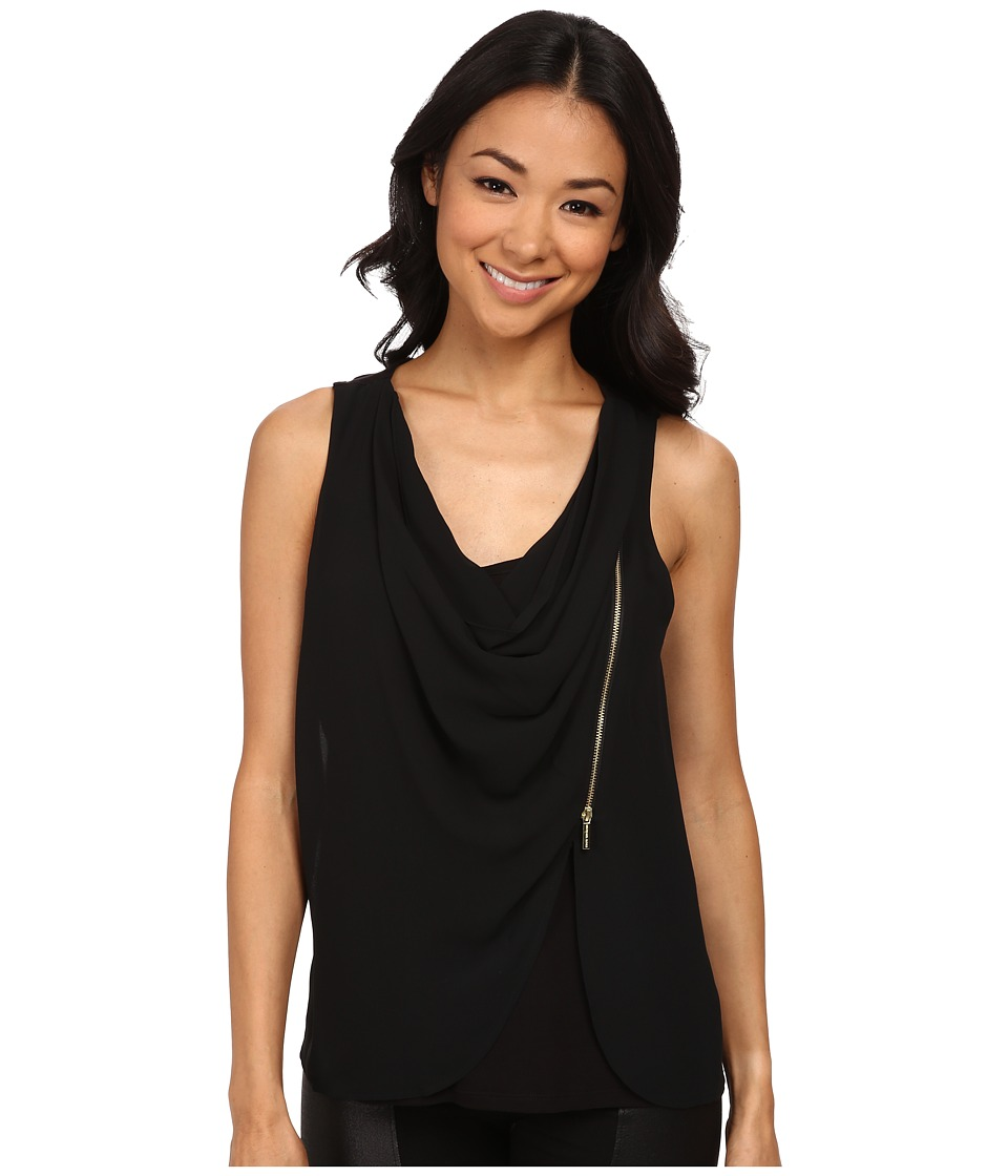 MICHAEL Michael Kors - Sleeveless Drape Tank Top w/ Zip (Black) Women's Sleeveless