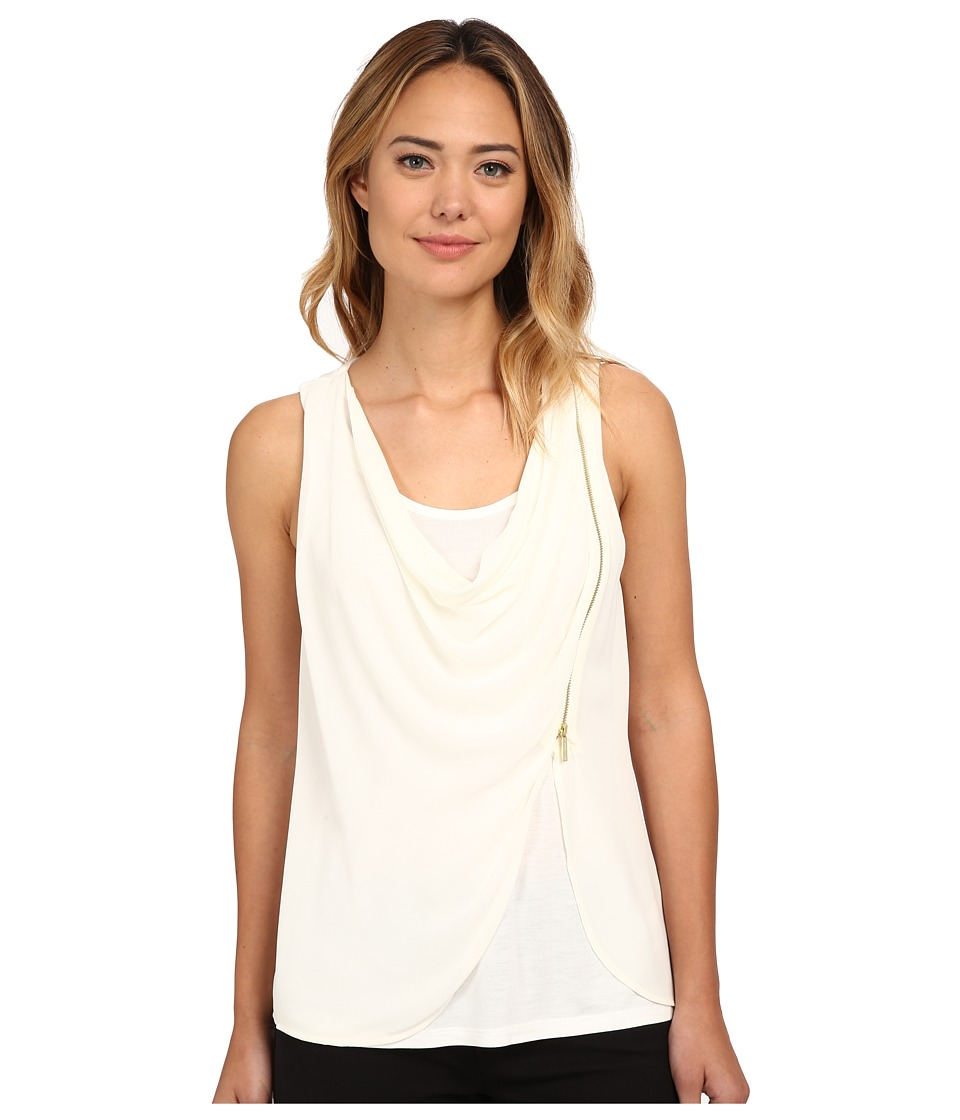 MICHAEL Michael Kors - Sleeveless Drape Tank Top w/ Zip (Cream) Women's Sleeveless