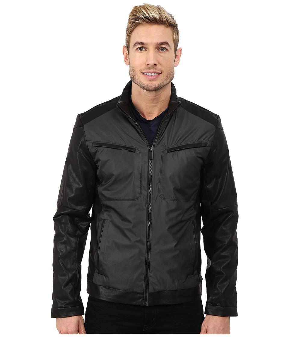 Calvin Klein - Faux Leather/Yard Dye Jacket (Black) Men